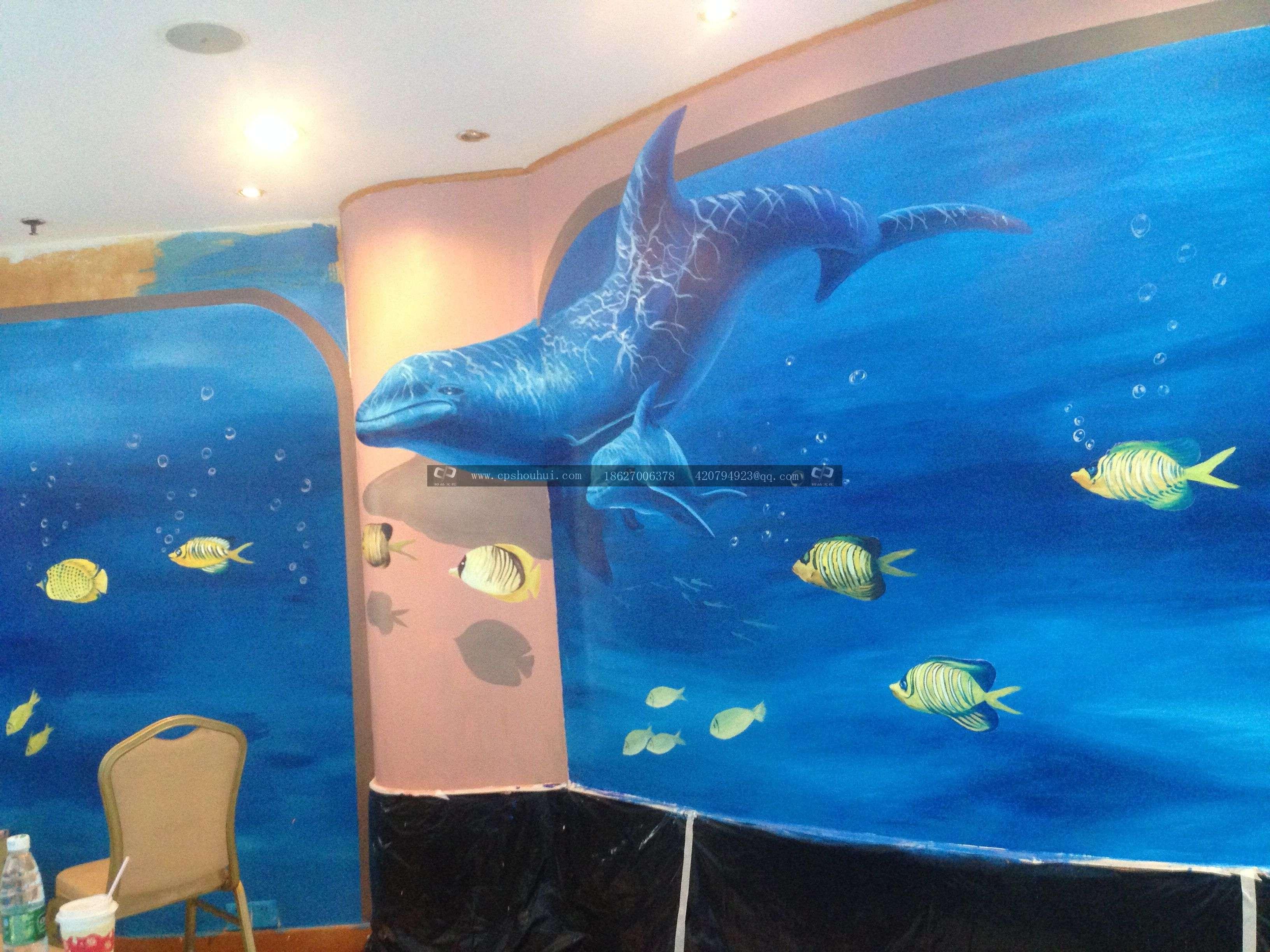 华美达酒店3d手绘墙壁画